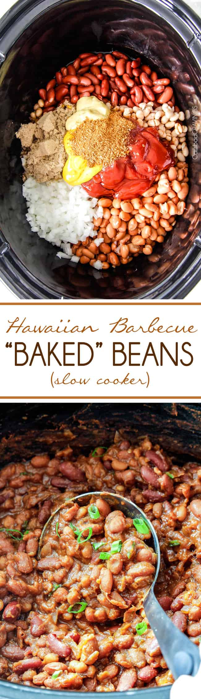 """Slow Cooker Hawaiian Barbecue """"Baked"""" Beans simmered in a pineapple..."""