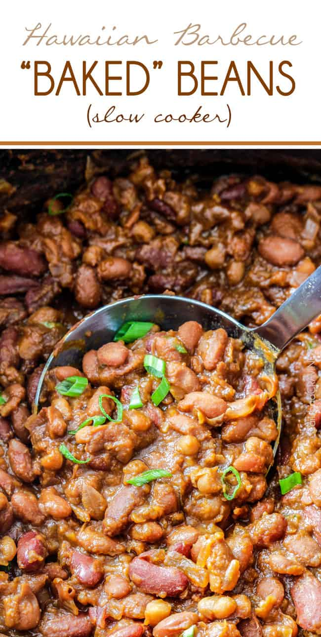Hawaiian Barbecue Baked Beans with a serving spoon.