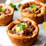 Mini Deep Dish Hawaiian Pizzas