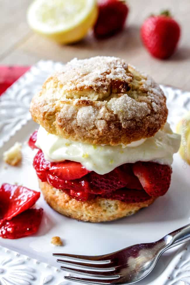 top view of easy Strawberry Shortcake recipe with biscuits, strawberries and whipped cream
