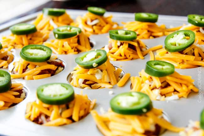 Showing how to make BBQ Brisket Bites with jalapeno and cheese before baking in the oven.