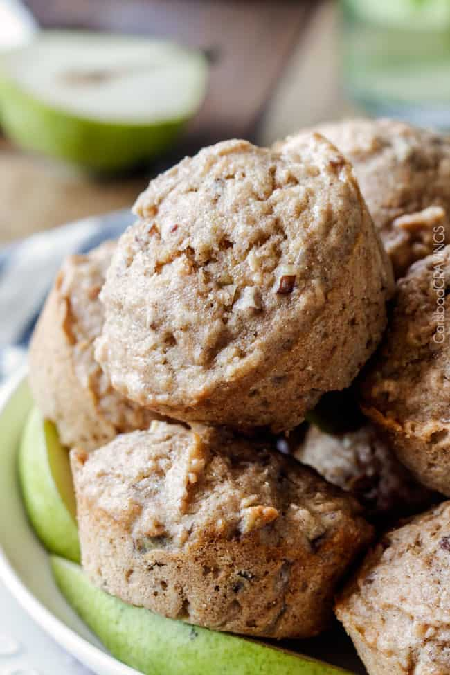 ONE BOWL Lowfat Coconut Pecan Pear Muffins bursting with toasted coconut and pecans and super moist from pear puree - you won't believe they are guilt free!!!