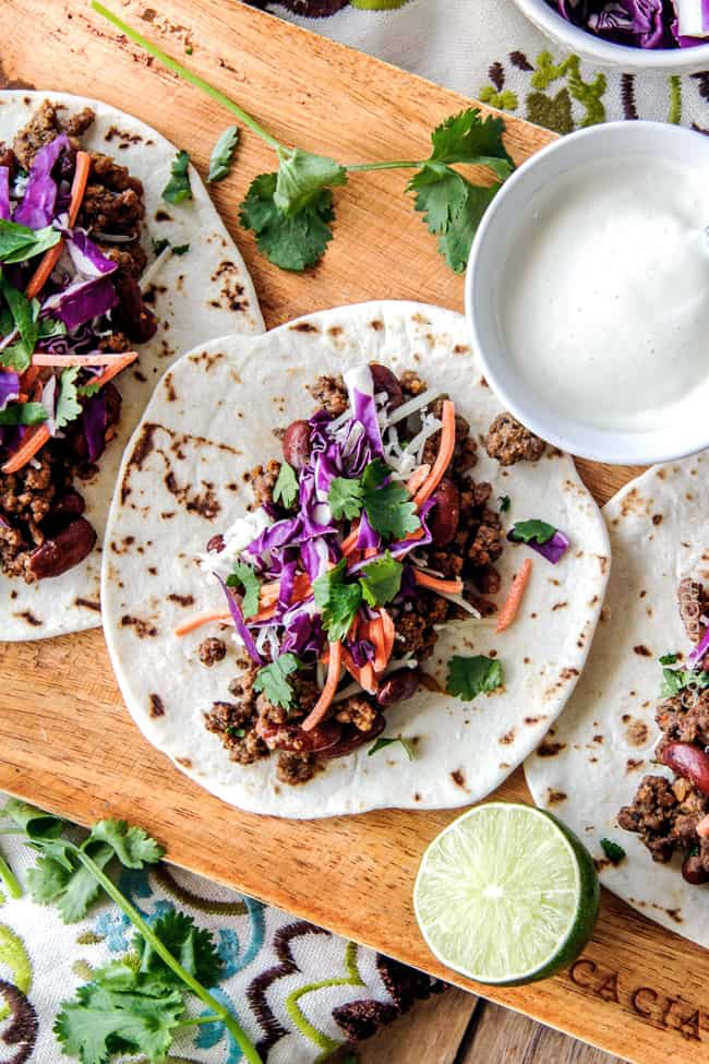 20 Minute Red Curry Beef Tacos with Coconut Crema - so bursting with flavor and couldn't be any easier!