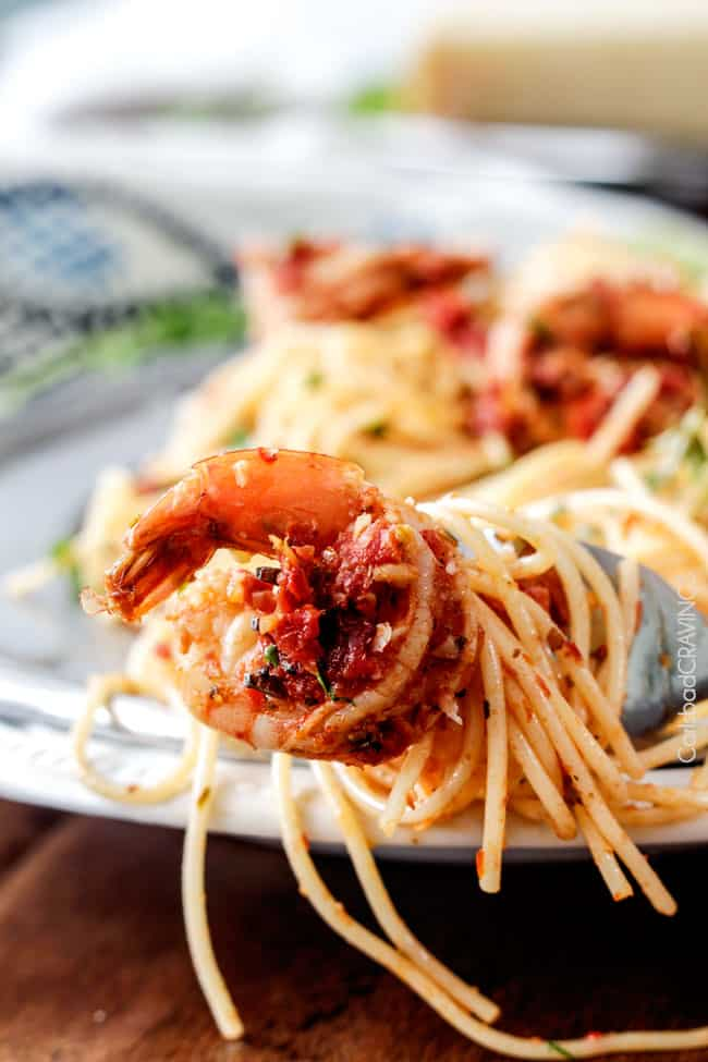 or less Sun-Dried Tomato Basil Shrimp Pasta packed with juicy shrimp ...