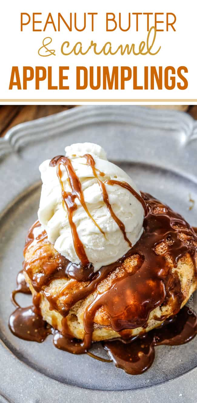 Peanut Butter and Caramel Apple Dumplings AKA the best apple dumplings ever! Perfectly buttery, flaky pastry, oozing cinnamon and sugar peanut butter filling all drizzled with silky caramel.