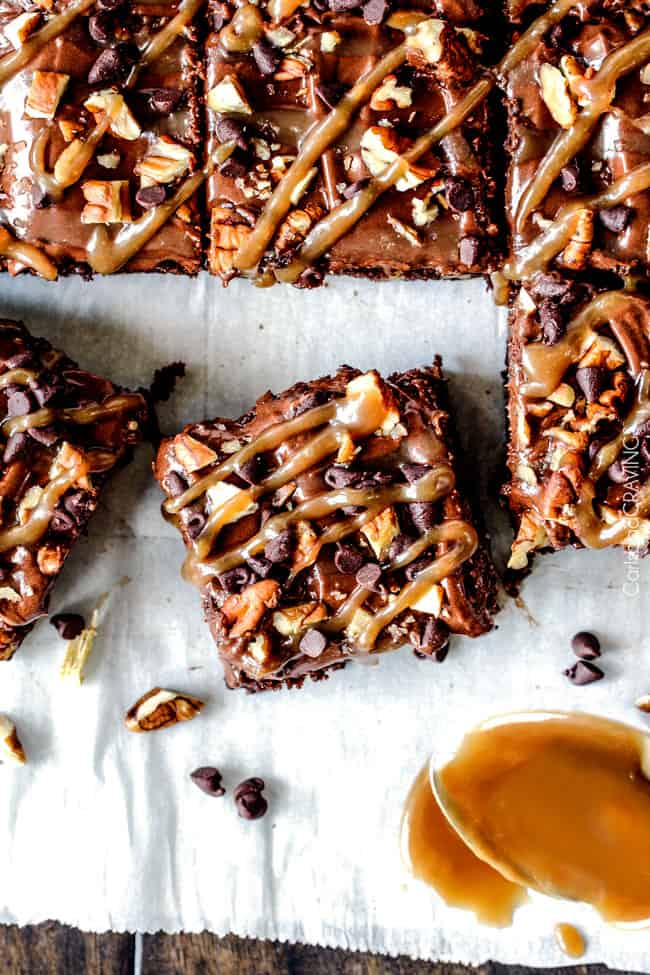 Turtle Brownies seeping with pockets of caramel, infused with pecans ...