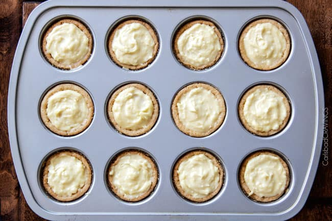 Top view of Mini Banana Coconut Cream Pies in a muffin pan.