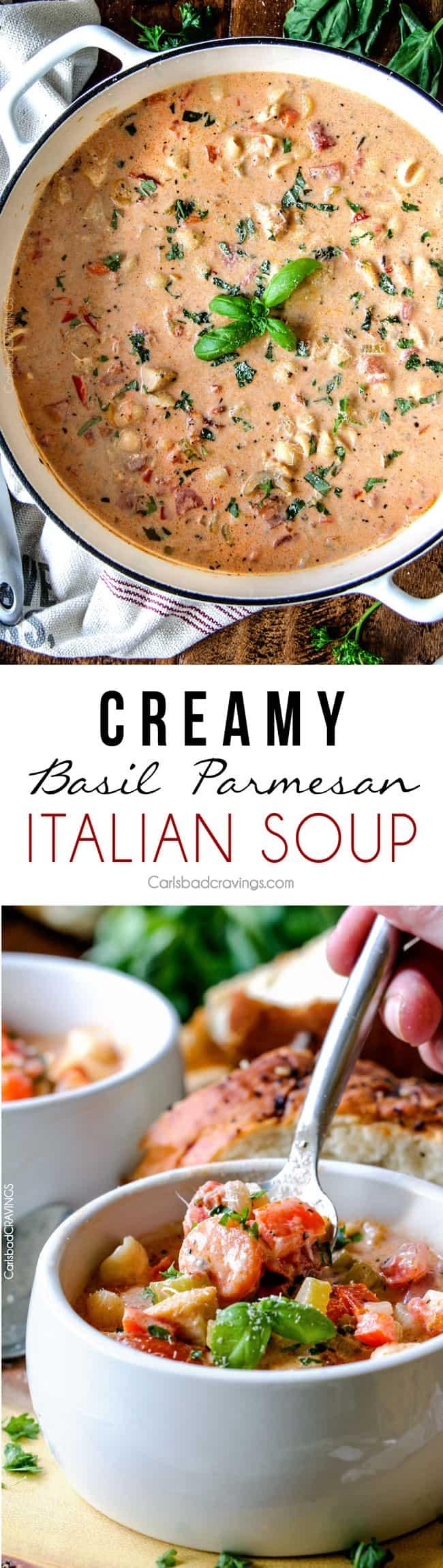 Creamy Basil Parmesan Italian Soup tastes better than any restaurant ...