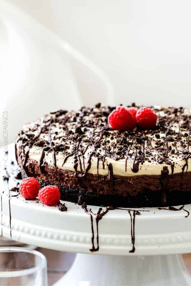 Creamy, rich chocolate mousse smothered with silky peanut butter whipped cream cradled in an Oreo crust. You won't be able to stop eating this pie!