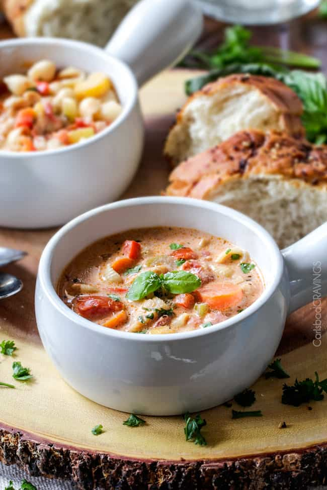 Creamy Basil Parmesan Italian Soup - Carlsbad Cravings