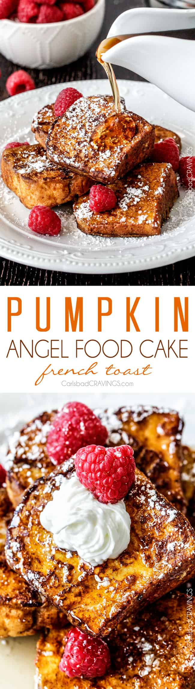 BEST Pumpkin French Toast Ever! Angel food Cake French toast dipped in Pumpkin batter - the perfect texture of toasted on the outside, light, airy and slightly sweet cake heaven on the inside.