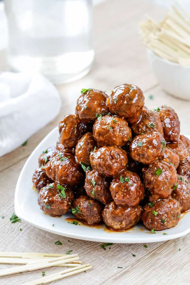 buffalo slow cooker meatballs on a platter