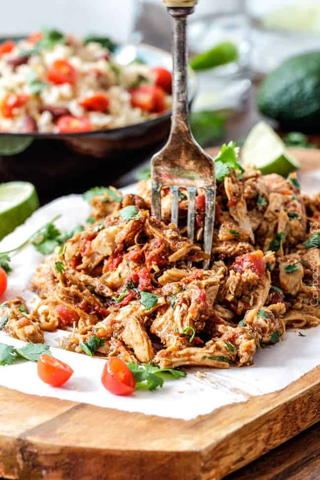 Easy Slow Cooker Shredded Mexican Chicken Simmered With Mexican Spices Salsa And Green Chilies For