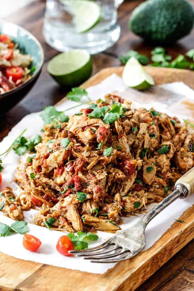 Shredded Mexican Chicken with cilantro and tomatoes.