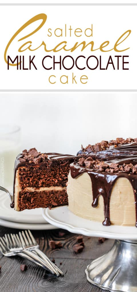 a salted caramel chocolate cake on a cake stand. a slice is being removed.