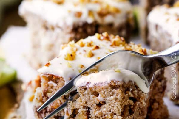 Super moist Maple Apple Spice Cake infused with sweet maple, bursting with Fall spices, walnuts (optional) and smothered in silky cream cheese frosting. Everyone loves this cake!