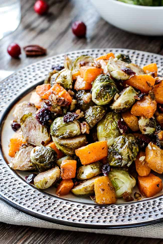 Maple Dijon Roasted Brussels Sprouts and Butternut Squash | Carlsbad Cravings