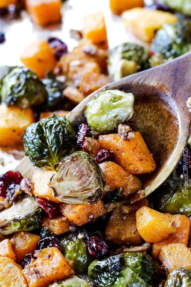 Dijon Brussels Sprouts and Butternut Squash with Cranberries and Bacon ...