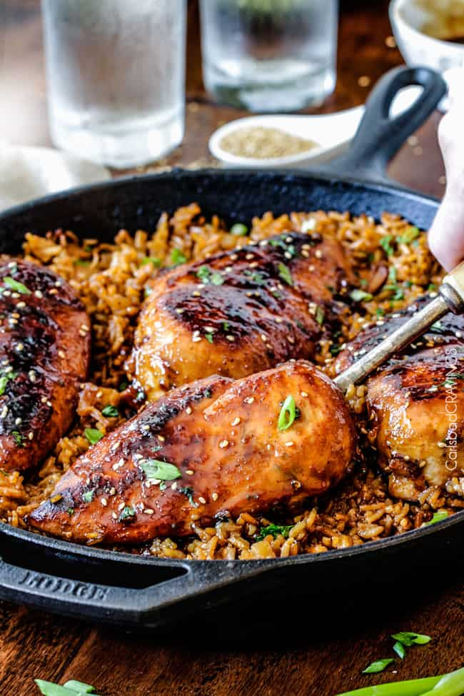 Easy One Pot Teriyaki Chicken with Pineapple Rice dripping with flavor and cooked all in the same skillet!
