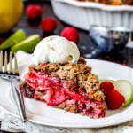 Raspberry Apple Pie with Oatmeal Cookie Crumble