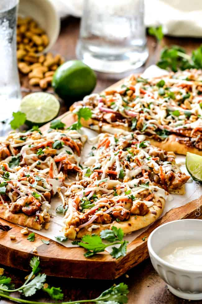25 Minute Thai Chicken Flatbread Pizza - Carlsbad Cravings