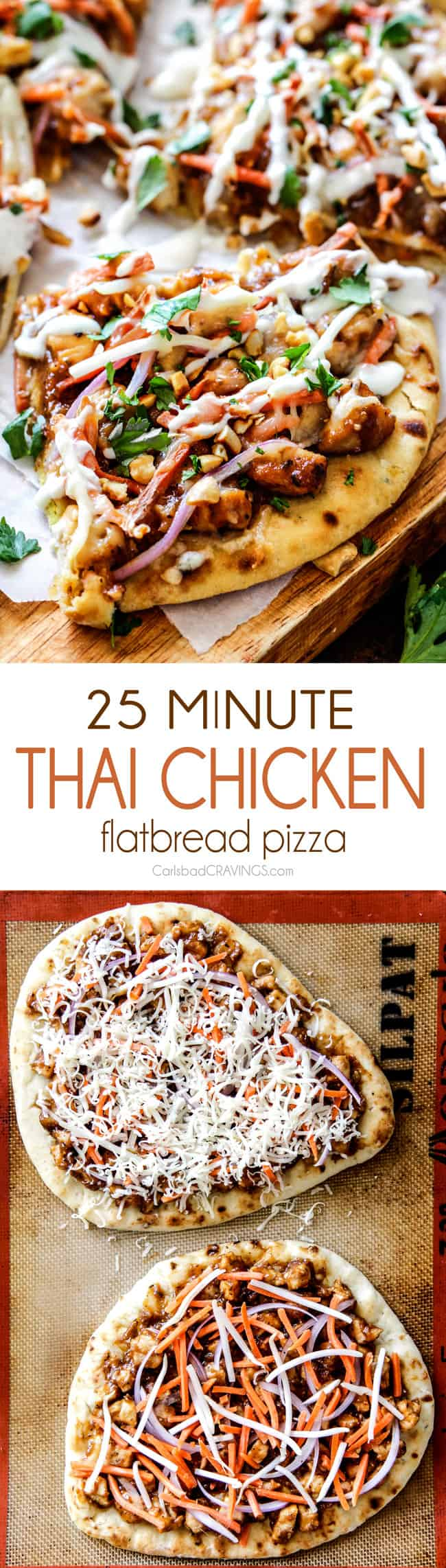 CPK inspired 25 Minute Thai Chicken Flatbread Pizza smothered in easy ...
