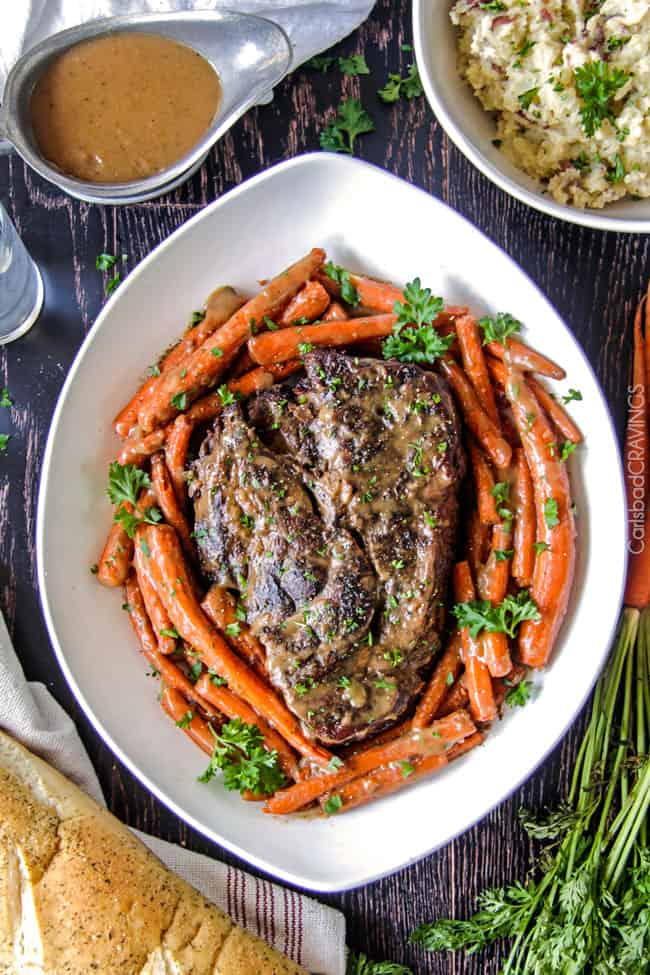 And carrots with mouthwatering gravy is the best pot roast i have ever