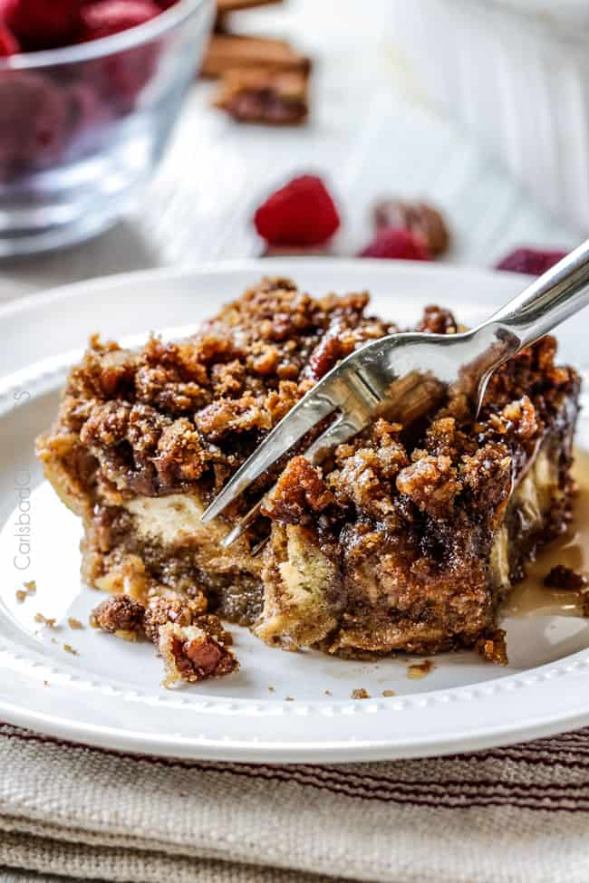 a fork biting into the best Baked French Toast Casserole