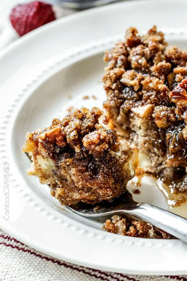 a forkful of overnight baked French Toast Casserole