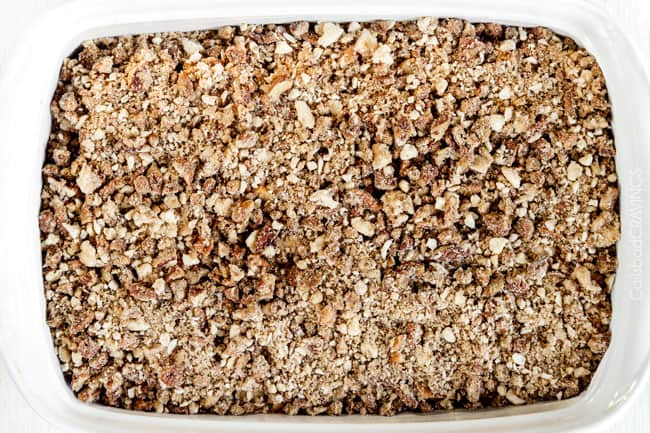 showing how to make baked French Toast Casserole by adding pecan crumble topping
