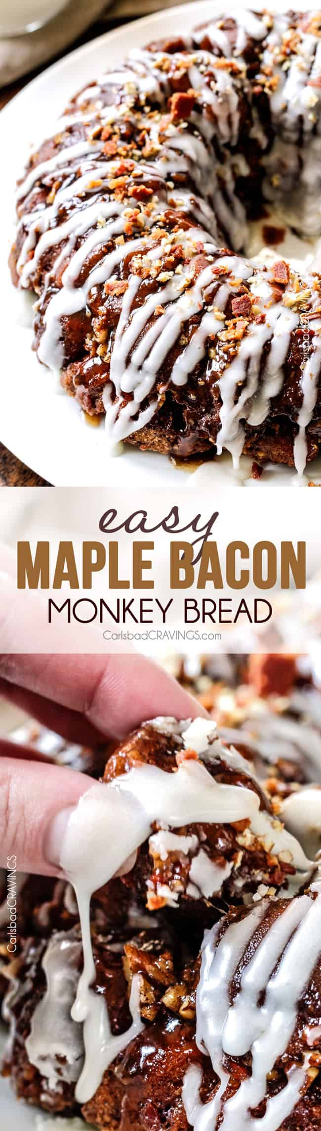 Maple Bacon Cinnamon Roll Monkey Bread made easy with refrigerated cinnamon rolls and made irresistible with maple crispy crumbled bacon, pecans and a maple caramel topping. The perfect special occasion breakfast, brunch or dessert!