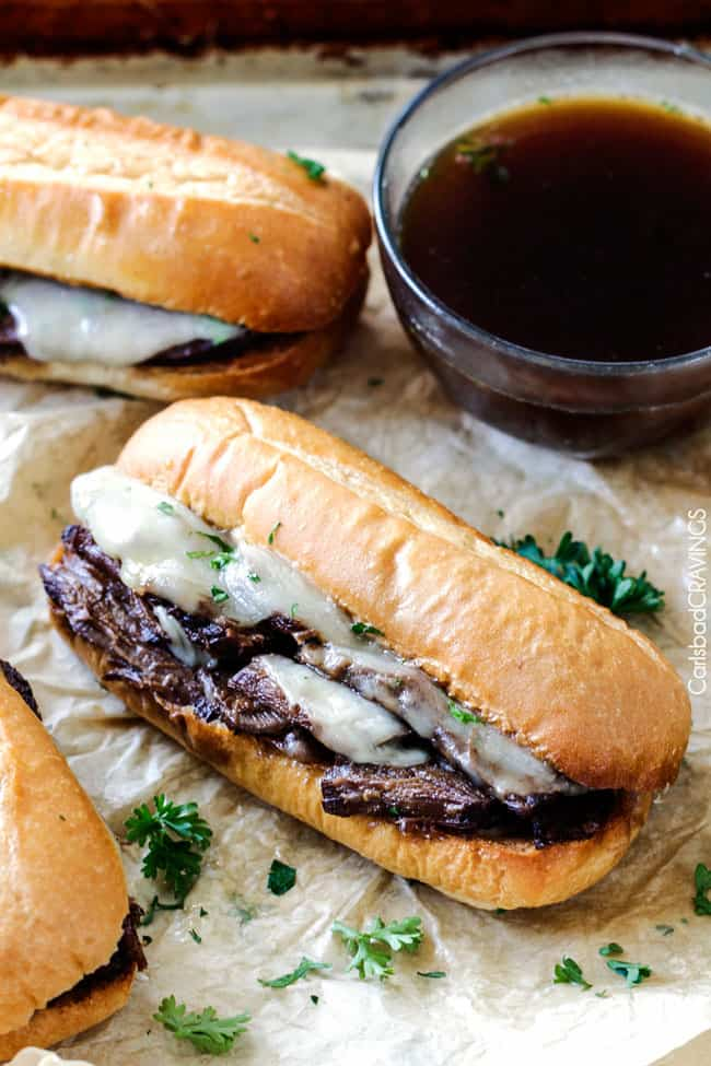 Best Slow Cooker French Dip Sandwiches - Carlsbad Cravings
