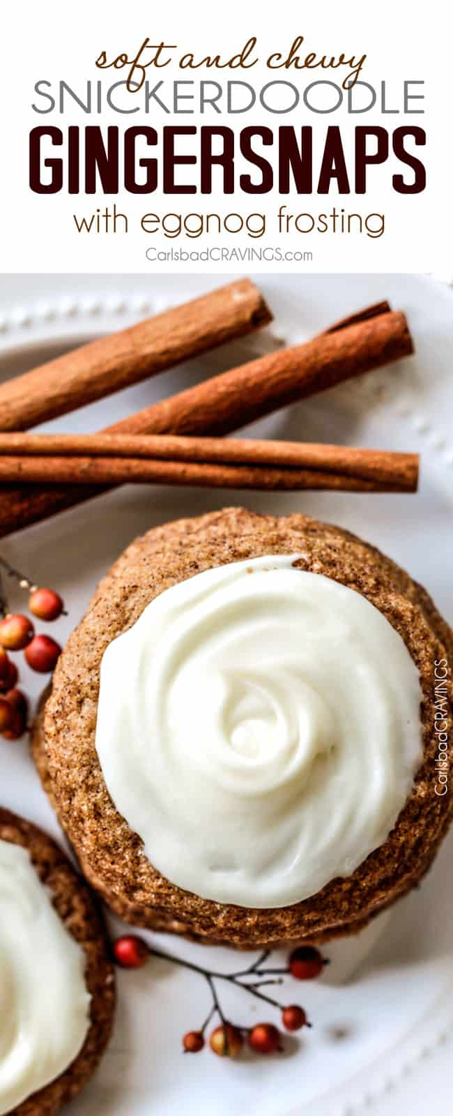 Perfectly spiced soft and Chewy Snickerdoodle Gingersnap Cookies with Eggnog Frosting are melt in your mouth delicious! Our favorite Christmas Cookie and the only gingersnap cookie recipe you will ever need!