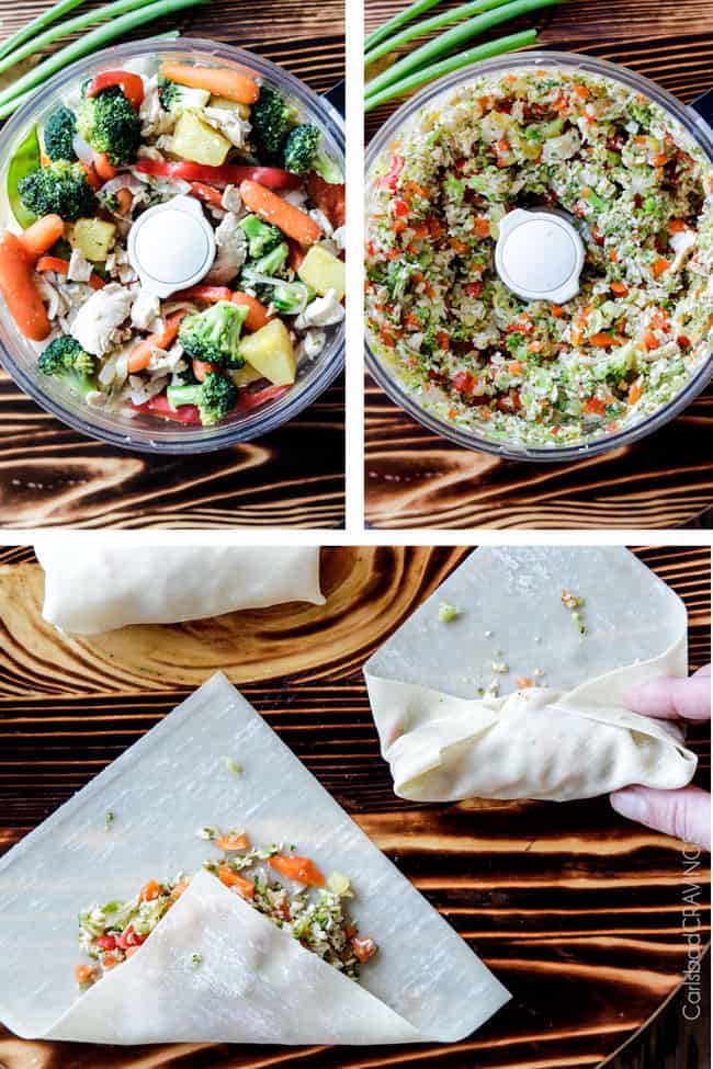 a collage showing how to make chicken egg rolls by chopping filling in a food processor then showing how to wrap chicken egg rolls in egg roll wrappers by folding up the bottom then the sides, then rolling up