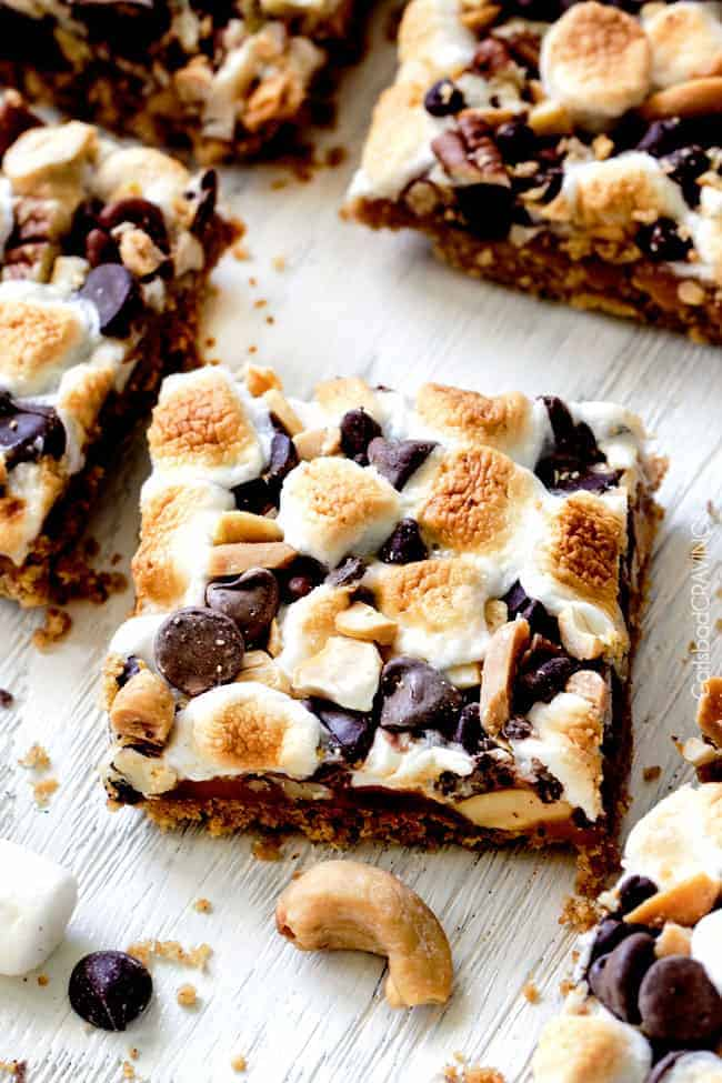 Caramel Nut S'mores Bars with marshmallow on top.