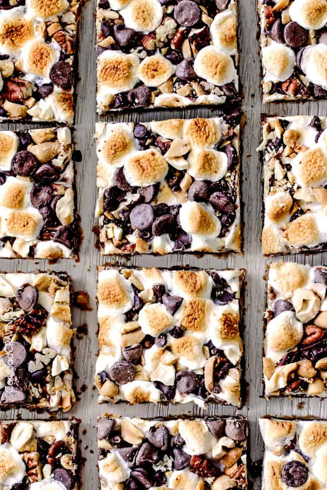 Showing cut up Caramel Nut S'mores Bars.