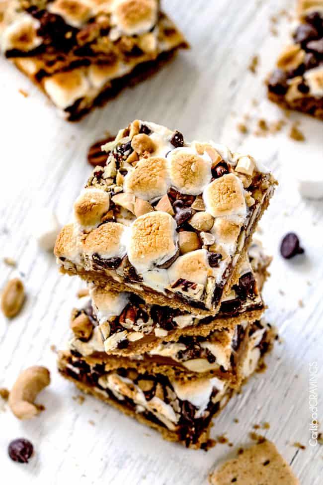 Stack of Caramel Nut S'mores Bars