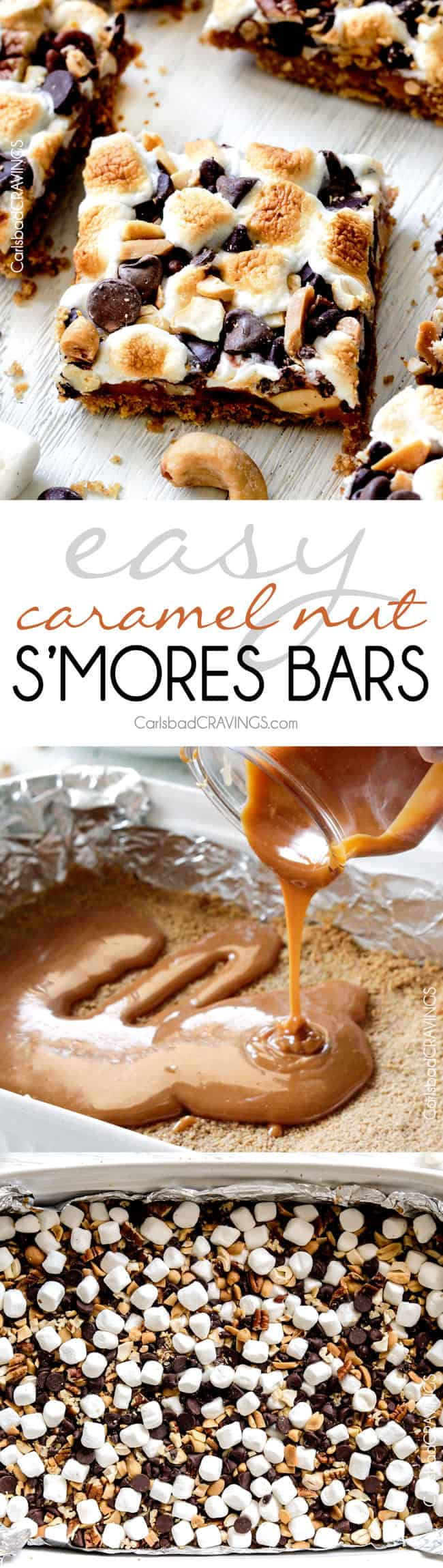 Caramel Nut S'more Bars are SUPER easy and crazy delicious -great for crowds! everything you love about s'mores but with caramel!