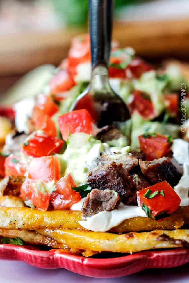 close up of carne asada fries topped with pico de gallo and avocado crema