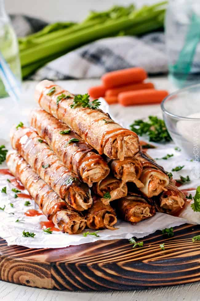 baked Chicken Taquitos recipe on a cutting board