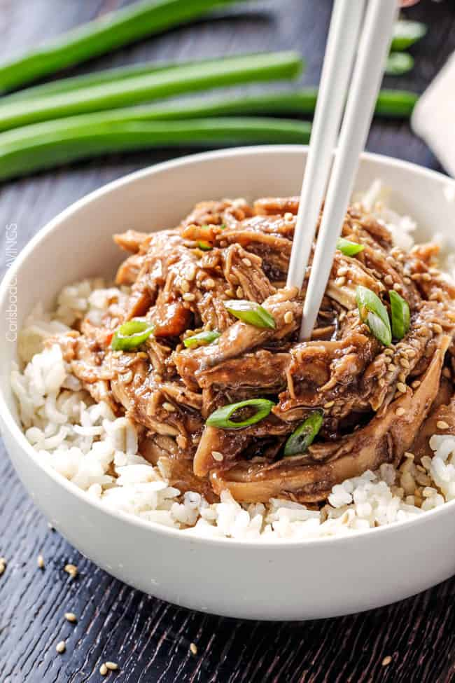 Slow Cooker Honey Soy Chicken seeping with flavor with hardly any effort will have you skipping for joy and skipping the takeout! Slow Cooker Honey Soy Chicken is one of our family favorites with the most incredible sauce! Super easy and way better than takeout!