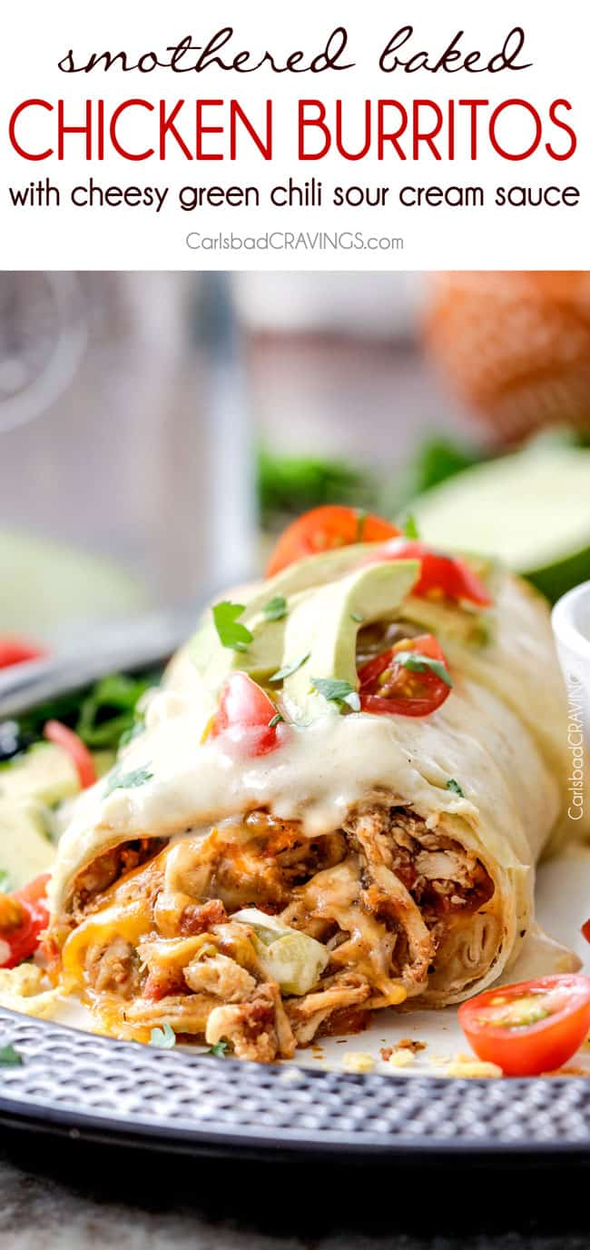 up close of baked chicken burritos with Mexican chicken, cheese and Green Chili Sour Cream Sauce