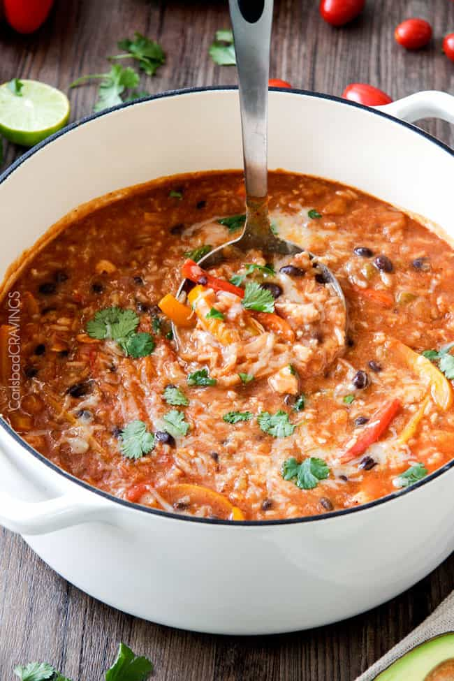 One pot chicken rice fajita soup carlsbad cravings one pot pepper jack chicken fajita and rice soup is packed with your favorite fajita flavors forumfinder Gallery