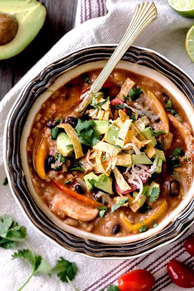 One Pot Chicken & Rice Fajita Soup - Carlsbad Cravings