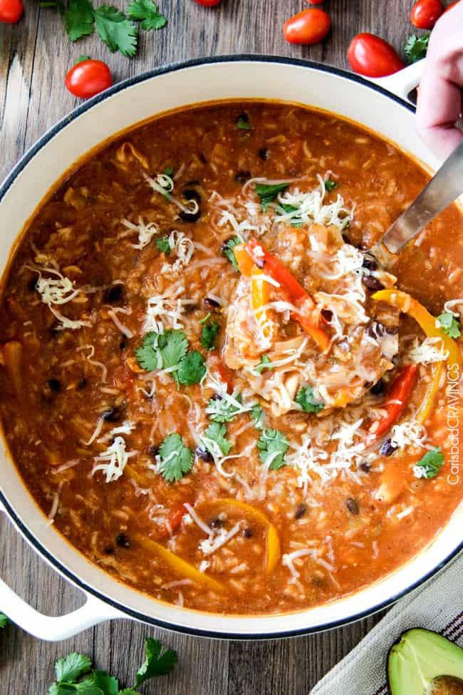 One Pot Chicken Rice Fajita Soup Carlsbad Cravings