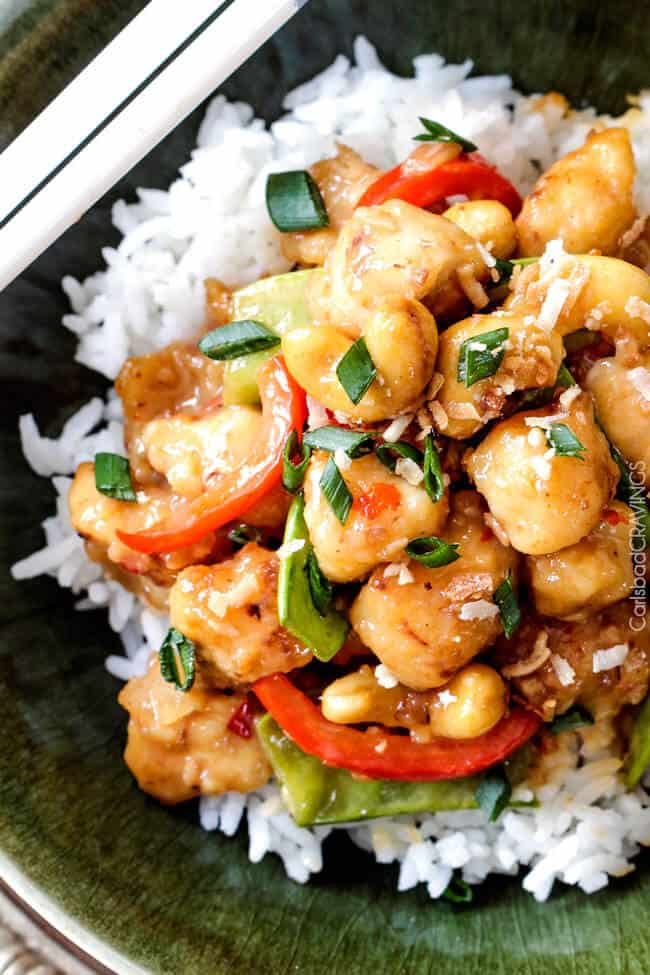 Skinny Honey Coconut Cashew Chicken Stir Fry - in your mouth in less than 30 minutes with most incredible coconut infused sweet and tangy sauce.