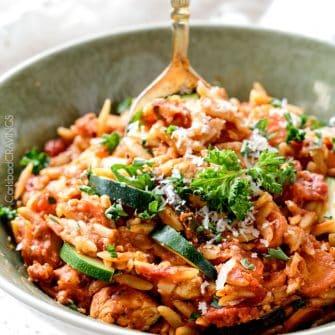 Italian Chicken Orzo Pasta (One pot!)