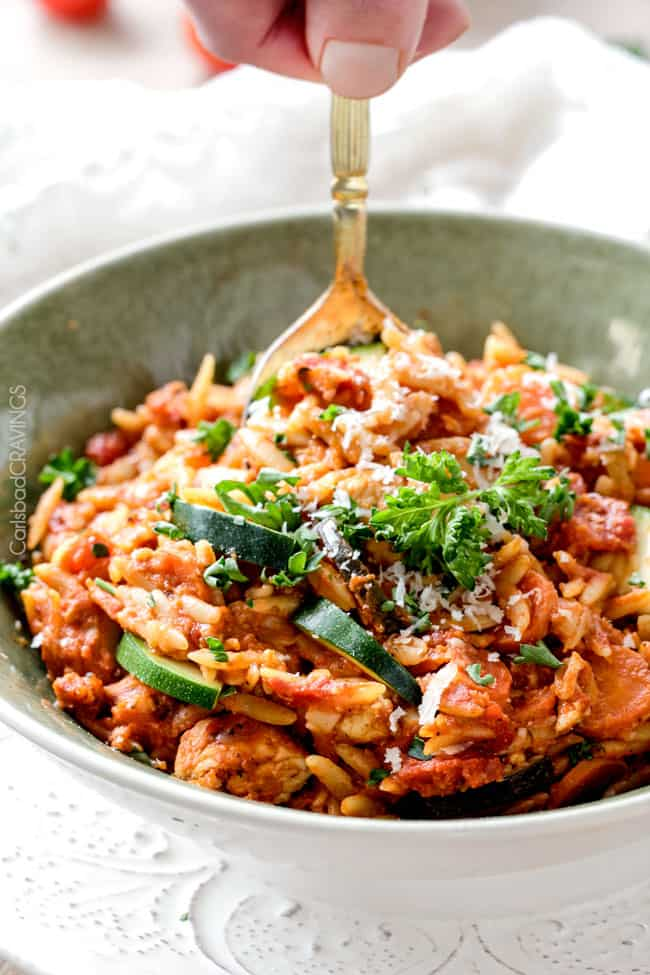 One Pot Italian Chicken And Orzo And Veggies In A Creamy Parmesan Tomato