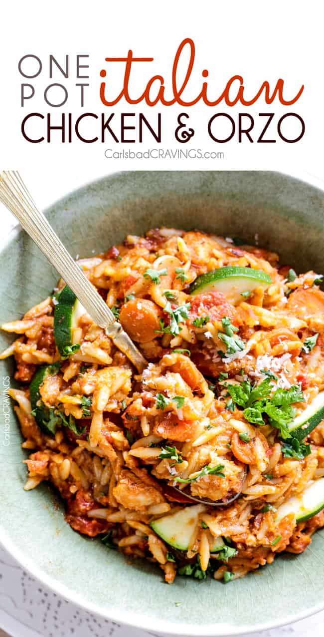 One Pot Italian Chicken And Orzo And Veggies