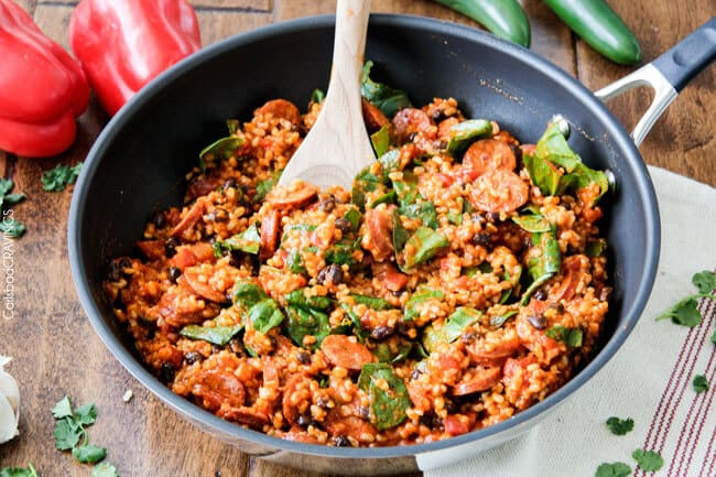 20 Minute One Skillet TexMex Sausage and Rice is quick and delicious and bursting with flavor from the most amazing Creamy Roasted Red Pepper Jalapeno Sauce for a hearty, comforting one pot meal the whole family will love!